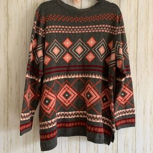 Talbots argyle print wool blend sweater